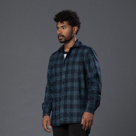 Deveaux Wool Plaid Overshirt - Navy/Green