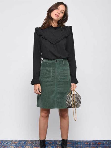 Leon & Harper Jubile Velvet Cord Skirt - Green