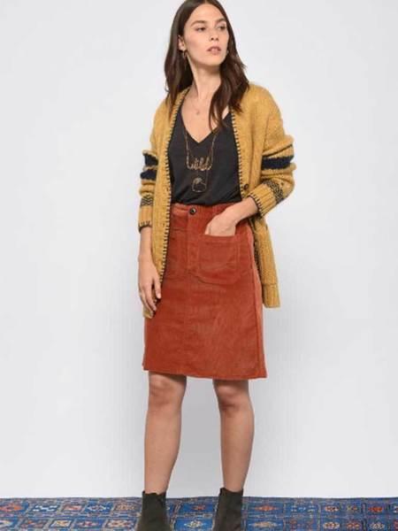 Leon & Harper Jubile Velvet Cord Skirt - Rust