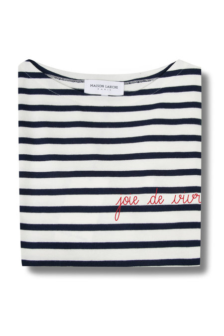 Maison Labiche Joie de Vivre Shirt - Off White/Dark Blue