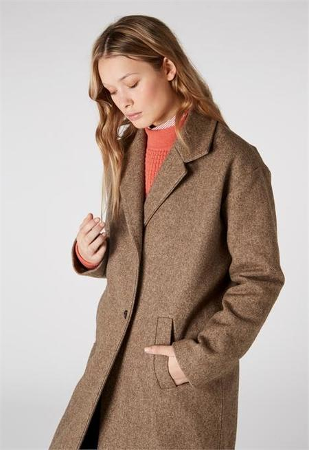 kings of indigo Ariadne Wool Coat - Brown Melange