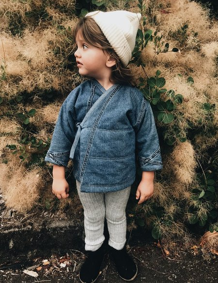 Kids Kiboro Embroidered w/ Free Spirit Quilted Kimono Jacket - Dark Denim