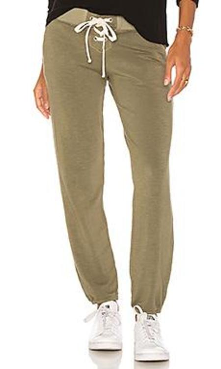 Monrow Lace Up Sweats - Olive