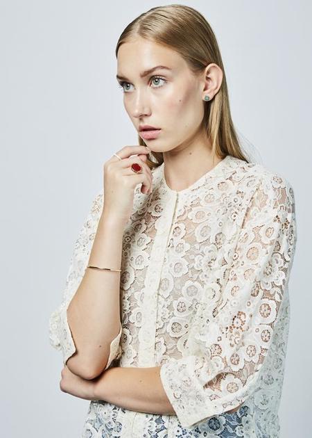 Sara Lanzi 3/4 Sleeve Lace Shirt - Off White