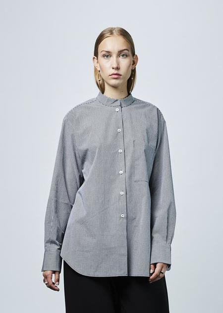 Sara Lanzi Oversize Straight Collar Shirt - Microcheck Navy