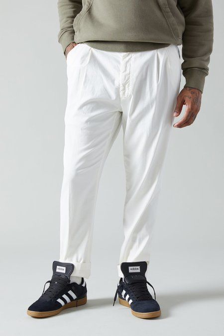 Paul Shark Cotton Silk Pleated Chinos - White
