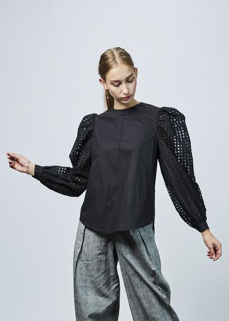 Fabiana Pigna Belen Sheer Sleeve Blouse - black