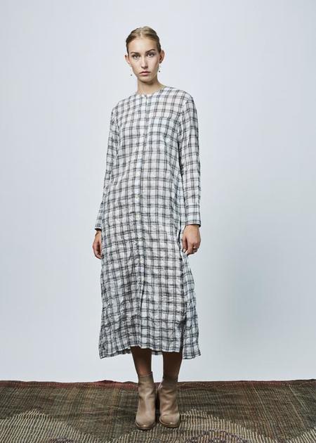 NICO Florence Button Up Dress - White/Black Check