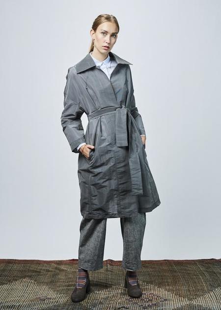 Ter et Bantine Oversize Lightweight Tie Coat - Grey Micro-Plaid