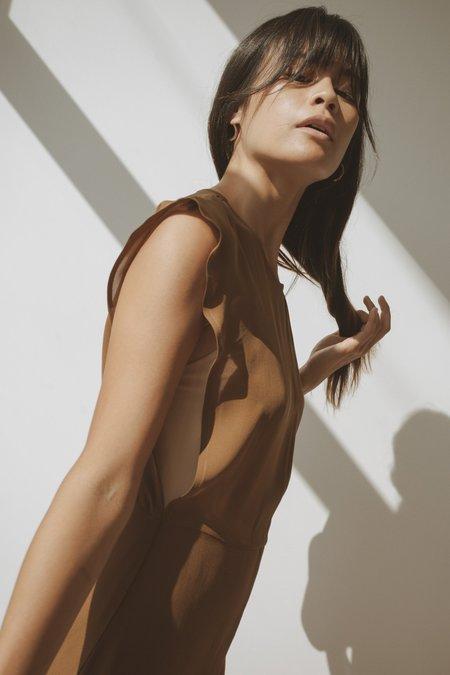 OR Keyhole Dress - Deep Olive Silk