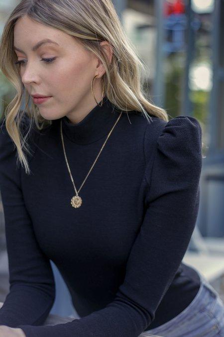 Smythe Puff Sleeve Knit Pique Top - Black