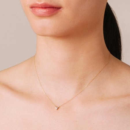 ADINA REYTER SUPER TINY SOLID PAVE TRIANGLE NECKLACE - Gold