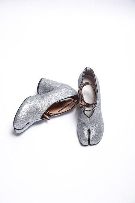 Maison Margiela Ankle Wrap Mary Jane - Silver Glitter/Black