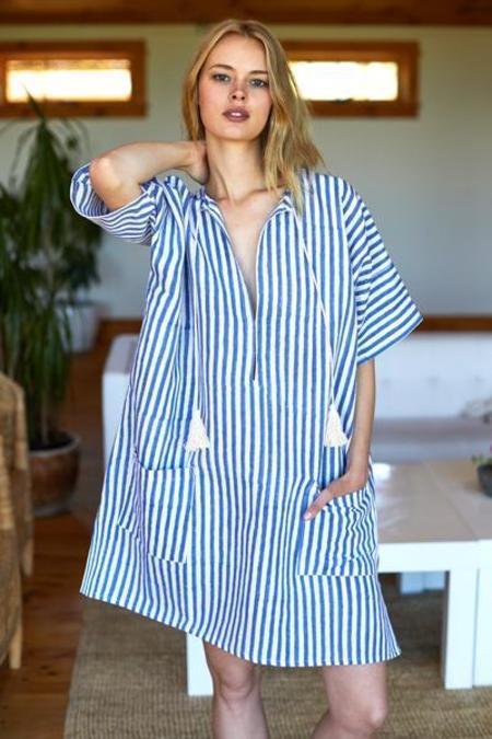 Emerson Fry Organic Linen Caftan - Ocean/Grey Stripes