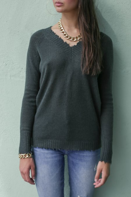 Minnie Rose Frayed Edge Double V Pullover Sweater - Army Green