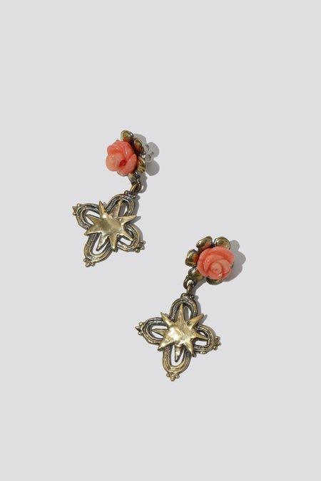 Mondo Mondo Rose Coral Earrings - Brass