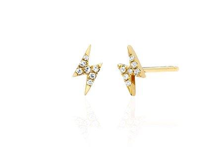 EF Collection Mini Diamond Lightning Bolt Stud Earring - 14k yellow gold