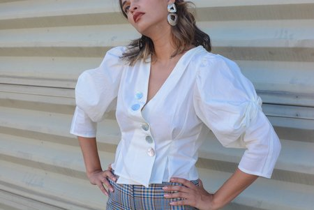 House of Sunny Loverr Knot Blouse - Mineral White