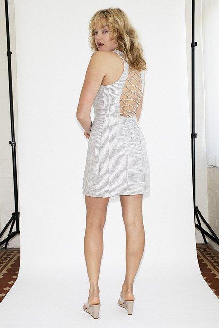 Third Form Draw In Linen Dress - Stripe