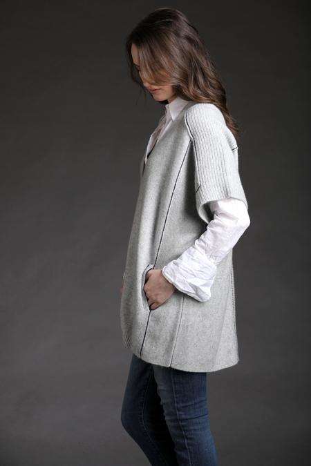 Paychi Guh Cashmere Half Sleeve Tunic - Lt H Grey