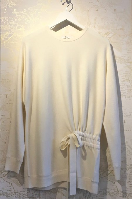 Tibi Merino Wool Sweater Shirred Tunic Pullover