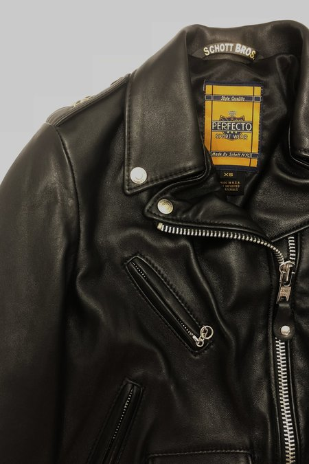 Schott Cropped Perfecto Leather Jacket - Black