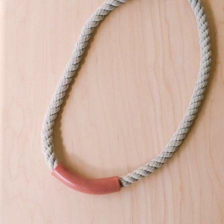 YYY Tube Necklace - Rust/Grey