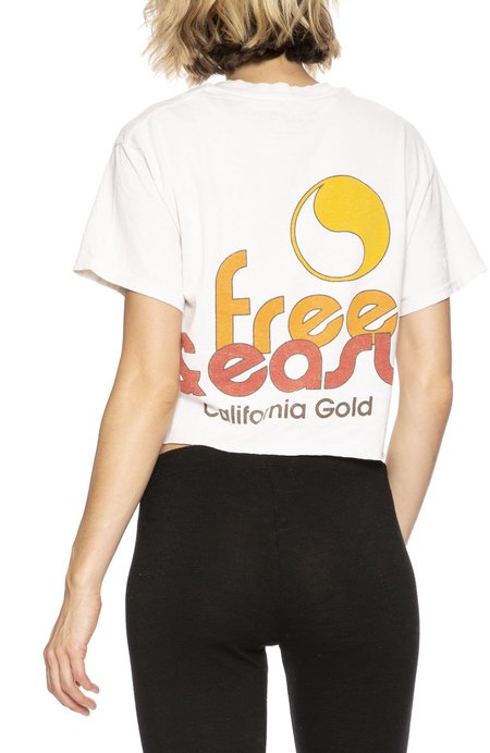 Free & Easy Sun Kissed Cropped Pocket Tee - Dirty White