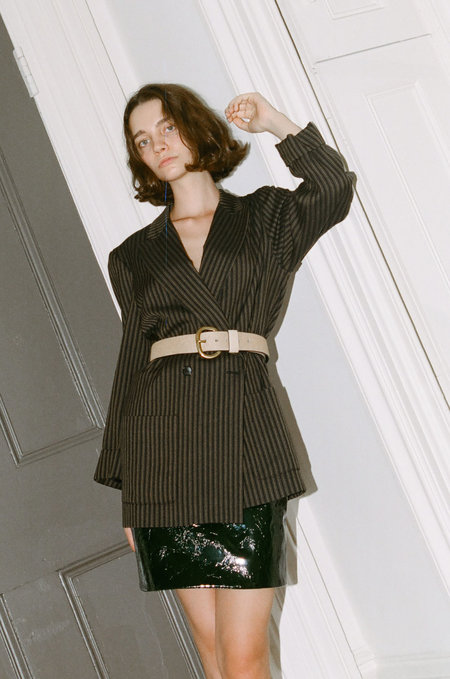 Either, And Vintage Striped Blazer - OLIVE
