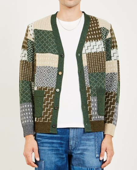 FDMTL PATCHWORK WOOL CARDIGAN - KHAKI GREEN