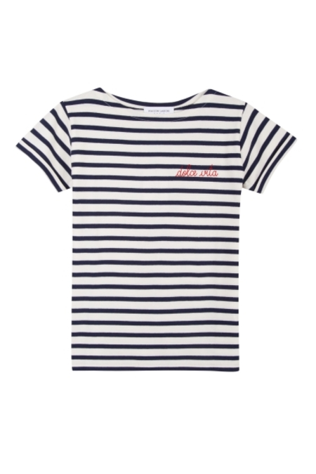 Maison Labiche Dolce Vita Sailor Tee - Off White/Dark Blue