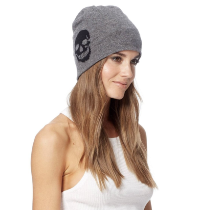 Skull Cashmere Scout Beanie - Charcoal
