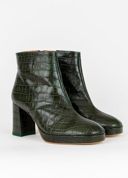 Miista Edith Crocodile Ankle Boots - Dark Green