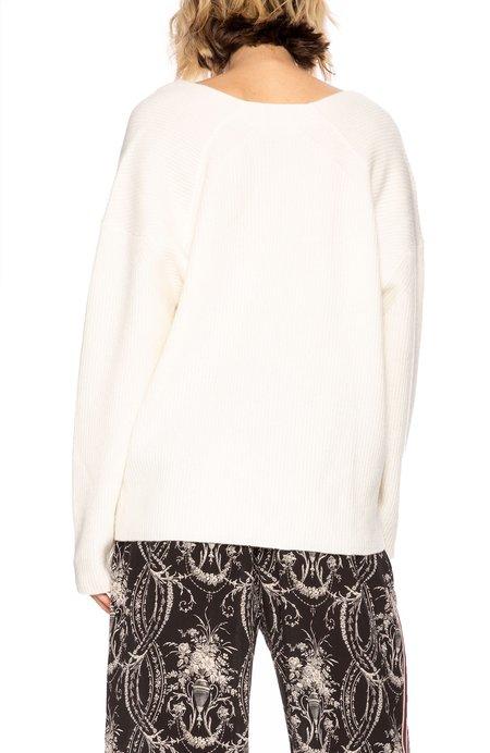 Tomorrowland Plunge Neck Ribbed Sweater - White
