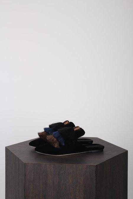 Sanayi313 Monarola Velvet Slippers - Black/Azur/Bronze