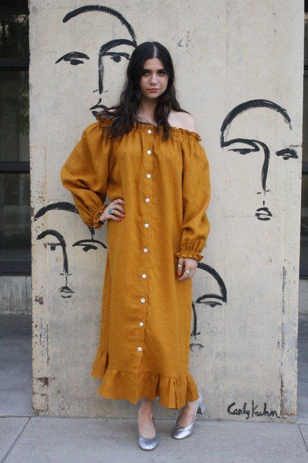 Sleeper Linen Lounge Dress - Dijon Orange