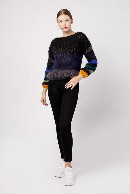 Maiami Mohair Stripe Sweater - black