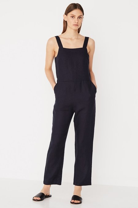 Assembly Wide Strap Linen Playsuit - Worn Navy