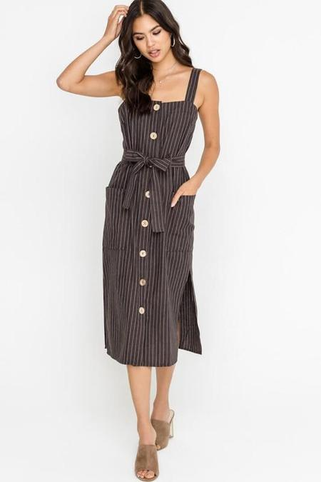 Lush Button Front Dress - Pinstripe