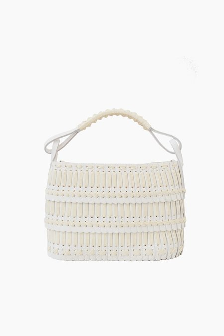 Hatori Leather Basket Bag - White/Cream