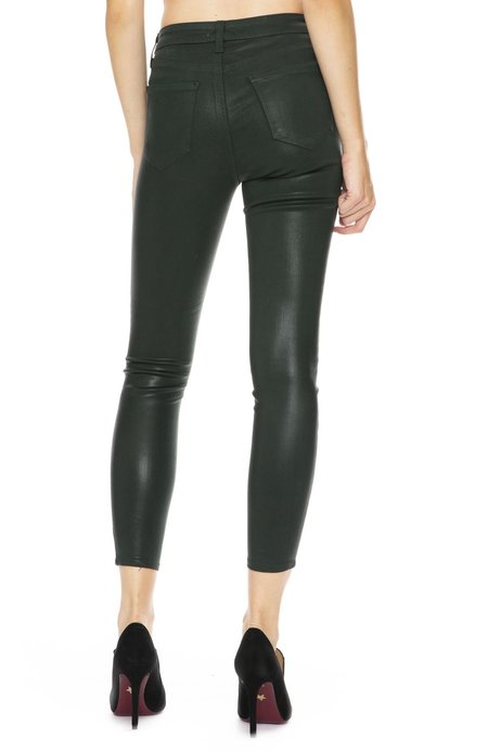 L'agence The Margot Coated High Rise Ankle Skinny - Evergreen