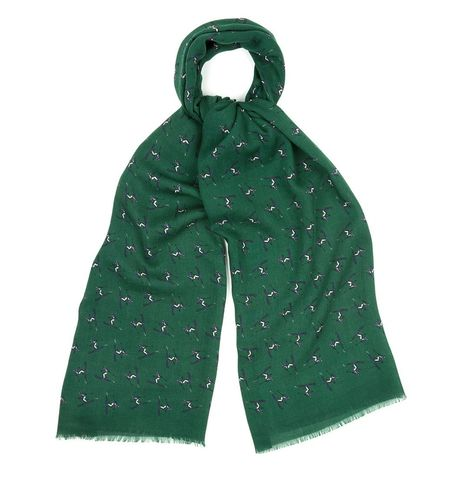 Drake's Wool Scarf - Green Ski Motif Print