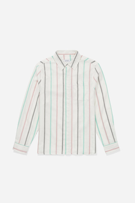 Saturdays NYC Mickey Tencel Button Down Shirt - Ivory Stripe