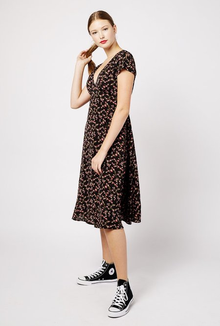 Azalea Floral short sleeve Midi Dress - Black/Multi