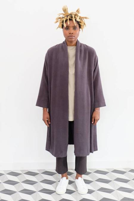Evam Eva Angora Wool Robe Coat - Blue/Grey