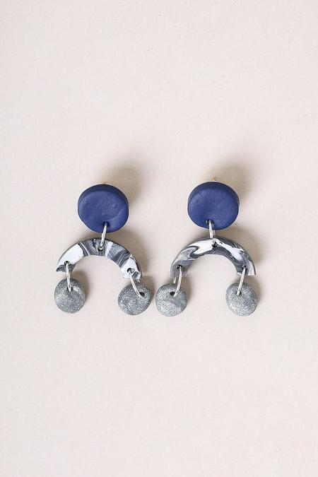 Peppertrain Ella Earrings - Blue Black White