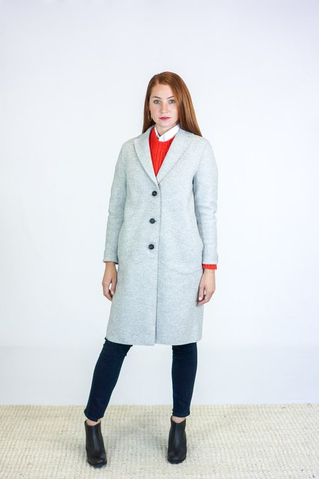 Harris Wharf London Cocoon Pressed Wool Coat - Ash Mouline