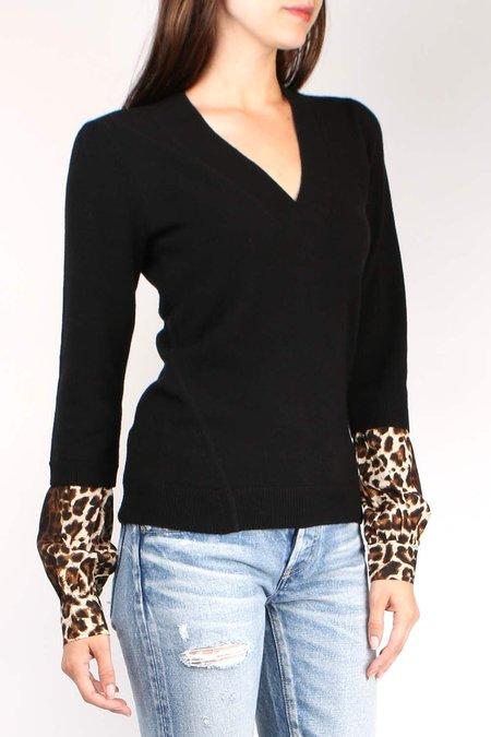 Veronica Beard Alba Mix Media Sweater - black