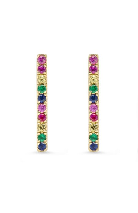 Shain Leyton 14K Gold Large Rainbow Stick Stud Earrings