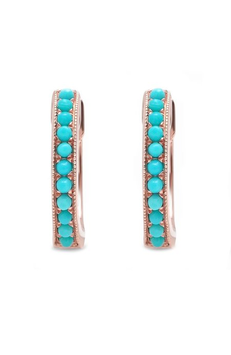 Shain Leyton 14K Gold Turquoise Huggies Earrings